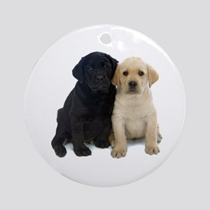 Black and White Labrador Puppies. Ornament (Round)