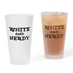 White And Nerdy Drinking Glass