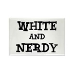 White And Nerdy Rectangle Magnet (10 pack)