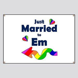 Just Married to Em Left Arrow Banner