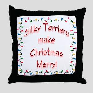 Merry Silky Terrier Throw Pillow