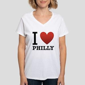 i-love-philly Women's V-Neck T-Shirt