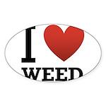 i-love-weed Sticker (Oval 50 pk)
