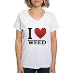 i-love-weed Women's V-Neck T-Shirt