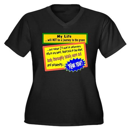 My Life/t-shirt Women's Plus Size V-Neck Dark T-Sh