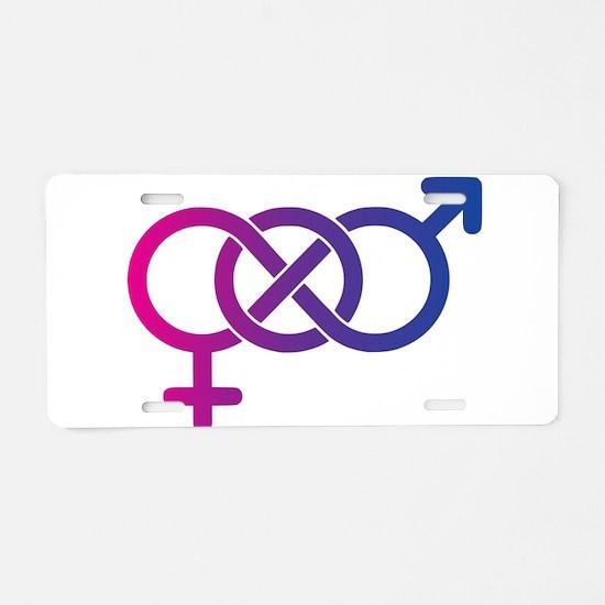 Bi Pride Multicolor Logo Aluminum License Plate