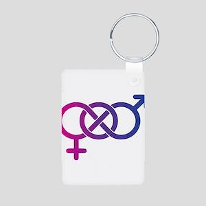 Bi Pride Multicolor Logo Aluminum Photo Keychain