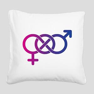 Bi Pride Multicolor Logo Square Canvas Pillow