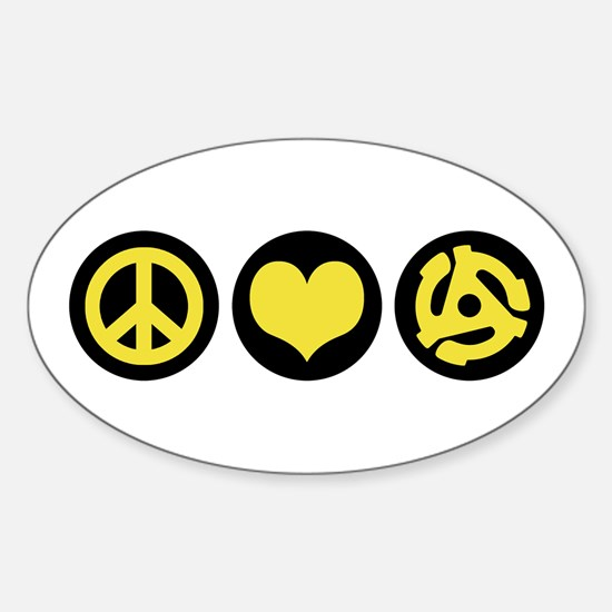 Peace Love 45 Sticker (Oval)