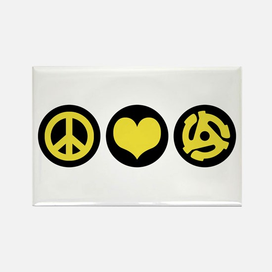 Peace Love 45 Rectangle Magnet