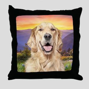 Golden Retriever Meadow Throw Pillow