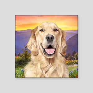 """Golden Retriever Meadow Square Sticker 3"""" x 3"""""""