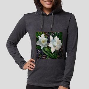 Daffodils2WhiteClose10x10burnt Womens Hooded Shirt