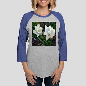 Daffodils2WhiteClose10x10burnt Womens Baseball Tee
