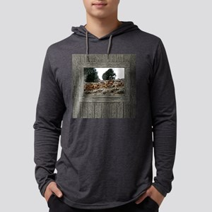 Old Cabin Window elk Mens Hooded Shirt