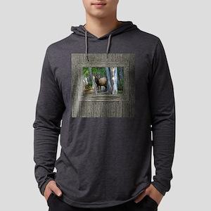 Old Cabin Window bull Elk 1 Mens Hooded Shirt