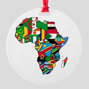 Flag Map of Africa Round Ornament