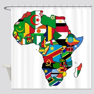 Flag Map of Africa Shower Curtain