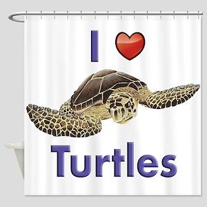 I-love-turtles-for-light Shower Curtain