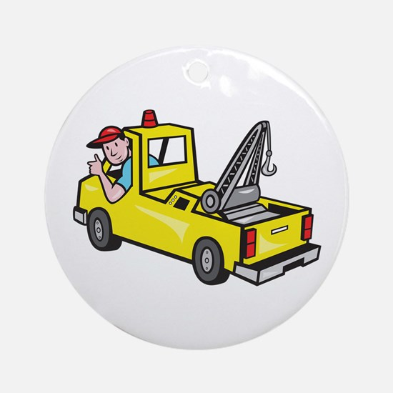 Tow Wrecker Truck Driver Thumbs Up Ornament (Round