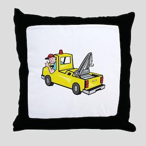 Tow Wrecker Truck Driver Thumbs Up Throw Pillow