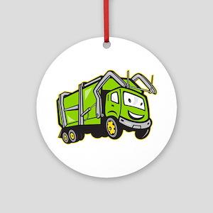 Garbage Rubbish Truck Cartoon Ornament (Round)