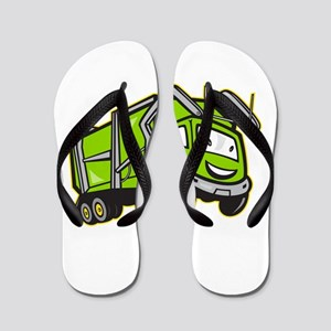 Garbage Rubbish Truck Cartoon Flip Flops