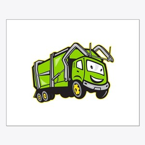 Garbage Rubbish Truck Cartoon Small Poster
