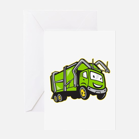Garbage Rubbish Truck Cartoon Greeting Card