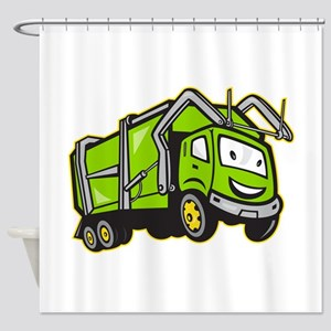 Garbage Rubbish Truck Cartoon Shower Curtain