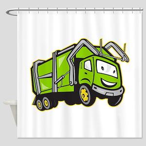 Garbage Rubbish Truck Cartoon Shower Curtain