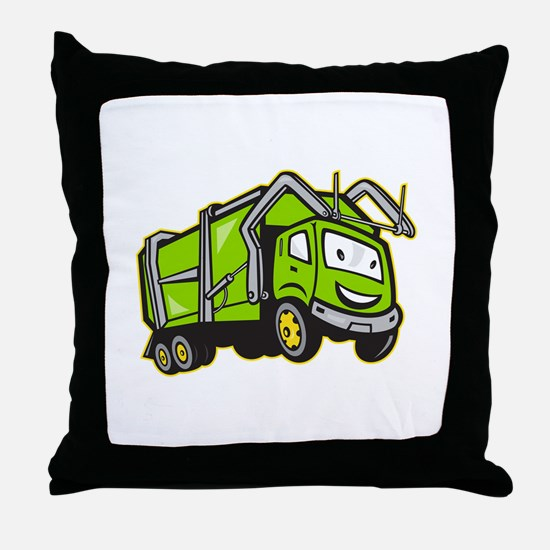 Garbage Rubbish Truck Cartoon Throw Pillow