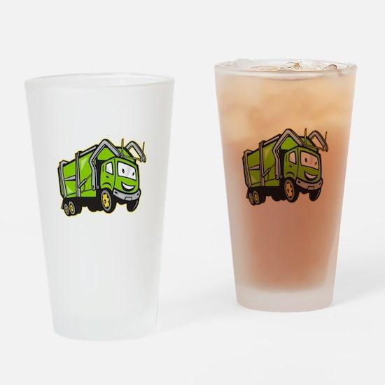 Garbage Rubbish Truck Cartoon Drinking Glass