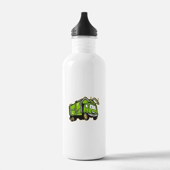 Garbage Rubbish Truck Cartoon Water Bottle