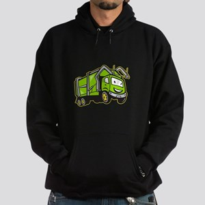 Garbage Rubbish Truck Cartoon Hoodie (dark)