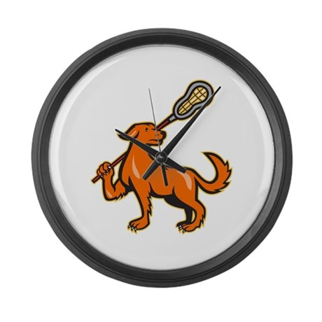 Dog With Lacrosse Stick Side View Large Wall Clock
