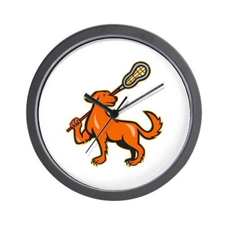 Dog With Lacrosse Stick Side View Wall Clock