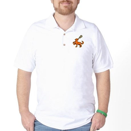 Dog With Lacrosse Stick Side View Golf Shirt