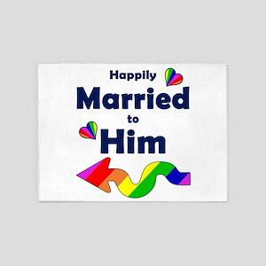 Married to Him Left Arrow 5'x7'Area Rug
