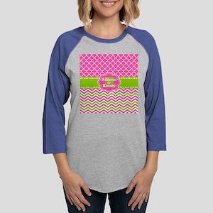 Pink Green Chevron Quatrefoil  Womens Baseball Tee