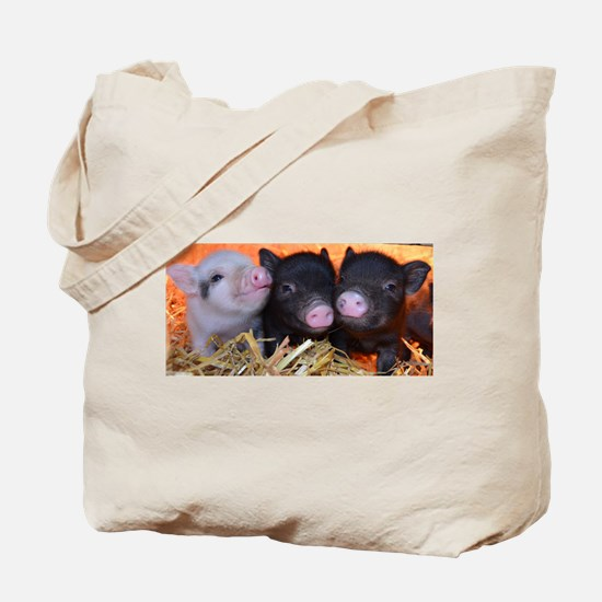 3 little micro pigs Tote Bag