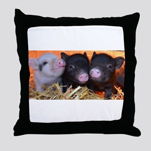 3 little micro pigs Throw Pillow
