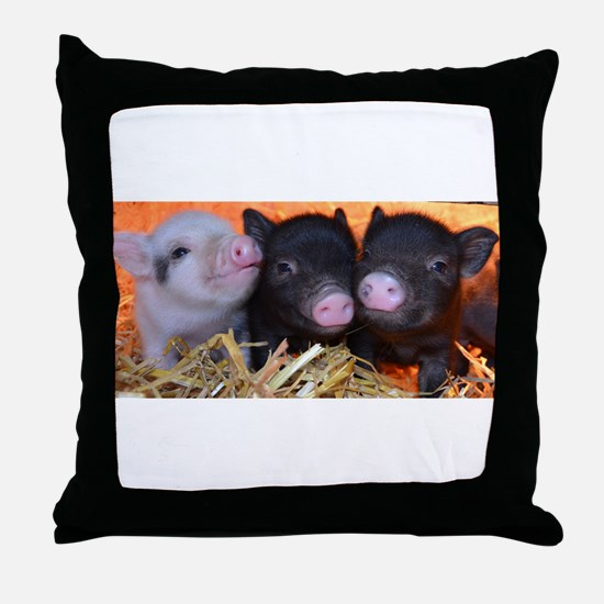 3 little micro pigs Throw Pillow