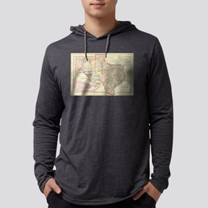 Vintage Map of Texas (1890) Mens Hooded Shirt