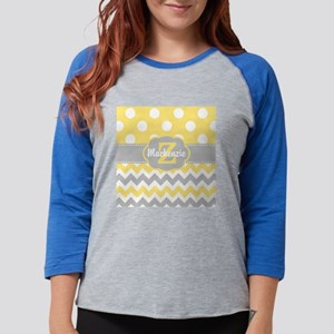 Gray Yellow Dots Chevron Perso Womens Baseball Tee