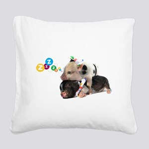 micro pigs sleeping Square Canvas Pillow