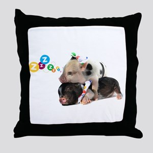 micro pigs sleeping Throw Pillow