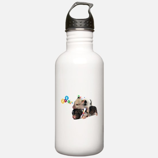micro pigs sleeping Water Bottle