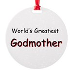 Greatest Godmother Round Ornament