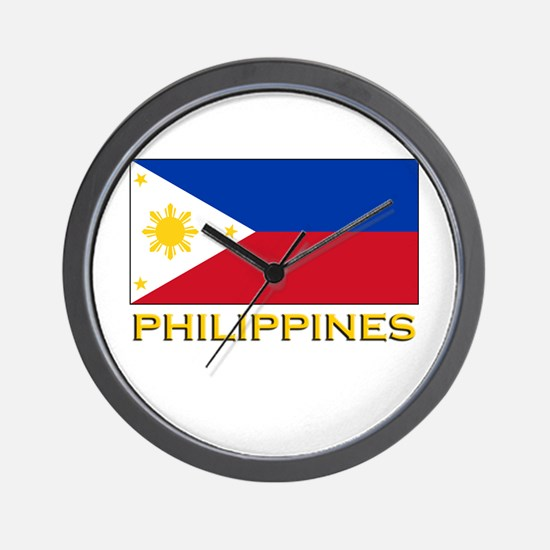 Philippines Flag Gear Wall Clock